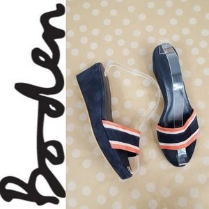 BODEN Suede Salmon and Navy Slide Wedges